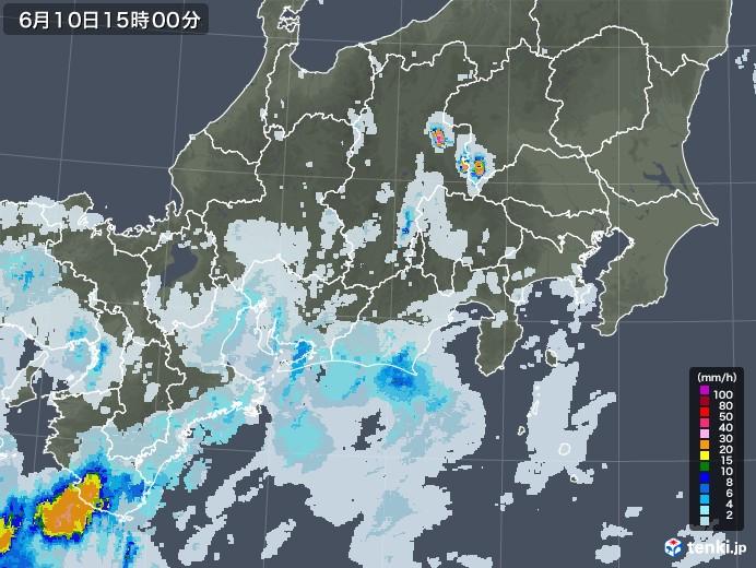 東海地方の雨雲レーダー(2020年06月10日)