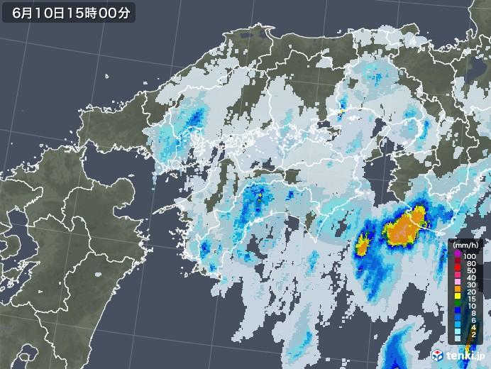 四国地方の雨雲レーダー(2020年06月10日)