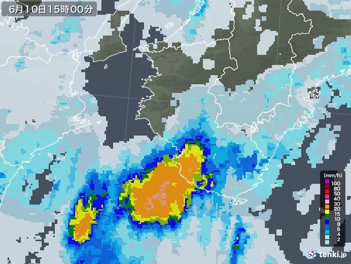 和歌山県の雨雲レーダー(2020年06月10日)