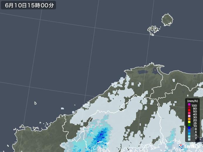 島根県の雨雲レーダー(2020年06月10日)