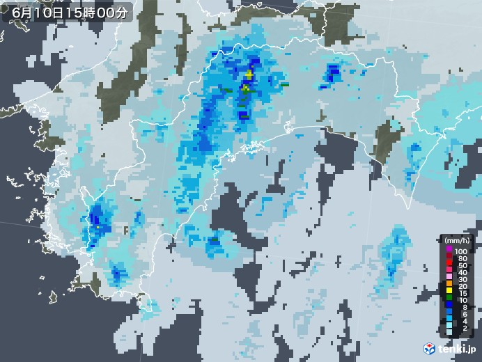 高知県の雨雲レーダー(2020年06月10日)