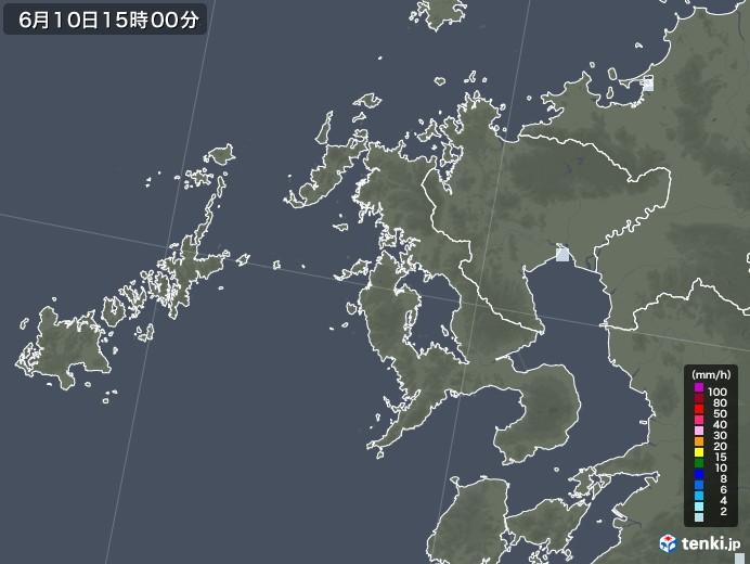 長崎県の雨雲レーダー(2020年06月10日)