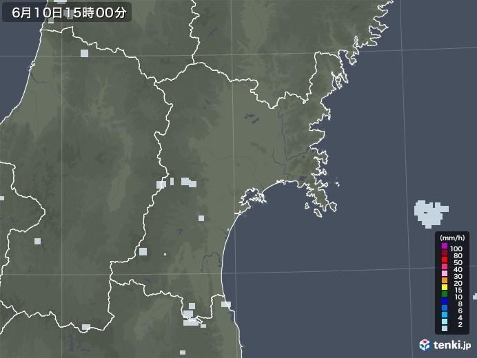 宮城県の雨雲レーダー(2020年06月10日)