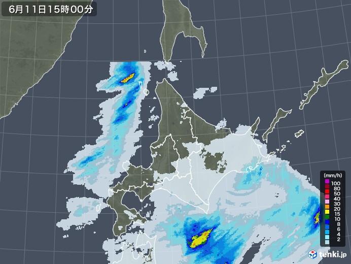 北海道地方の雨雲レーダー(2020年06月11日)