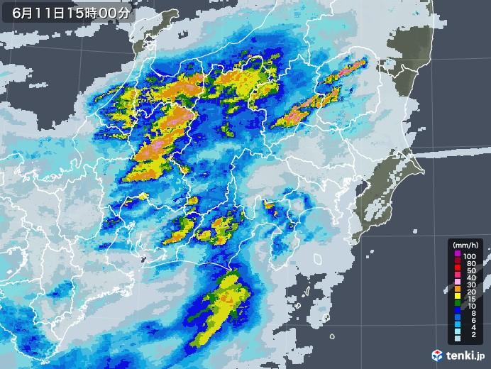 関東・甲信地方の雨雲レーダー(2020年06月11日)