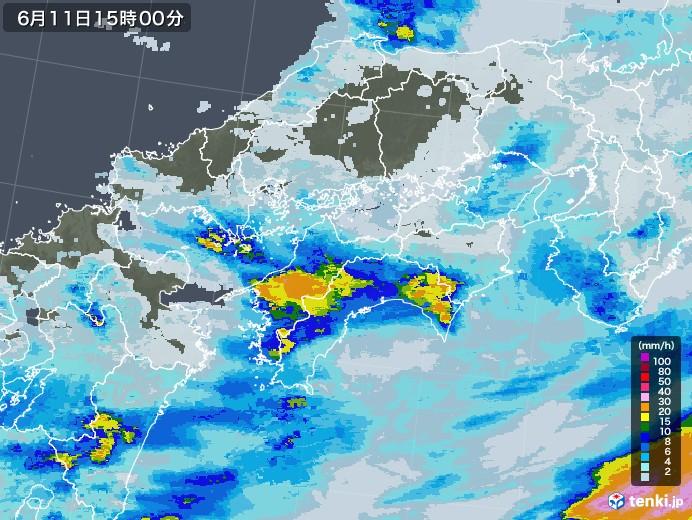 四国地方の雨雲レーダー(2020年06月11日)