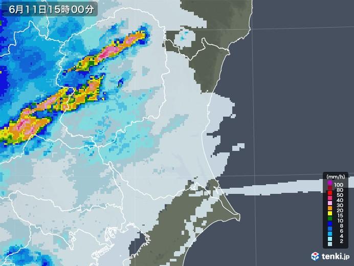 茨城県の雨雲レーダー(2020年06月11日)