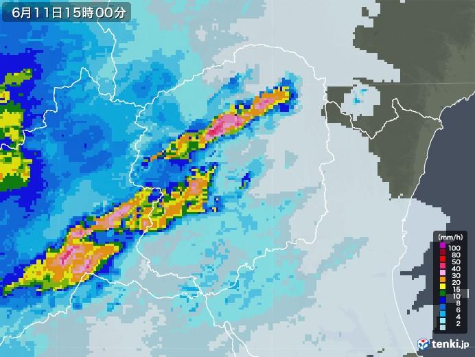 栃木県の雨雲レーダー(2020年06月11日)