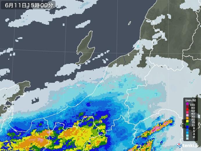 新潟県の雨雲レーダー(2020年06月11日)