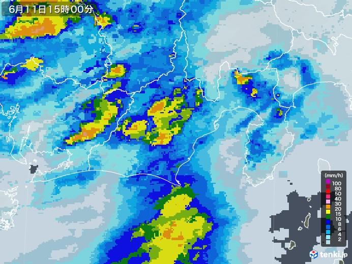 静岡県の雨雲レーダー(2020年06月11日)