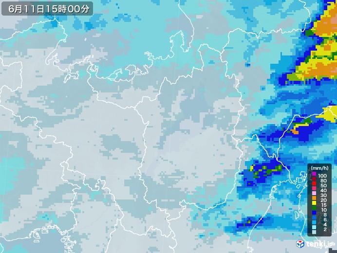 滋賀県の雨雲レーダー(2020年06月11日)