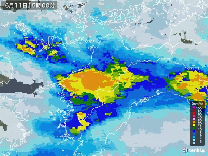 愛媛県の雨雲レーダー(2020年06月11日)