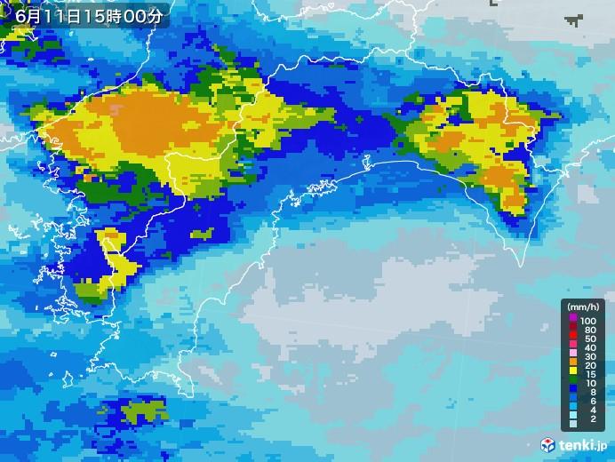 高知県の雨雲レーダー(2020年06月11日)