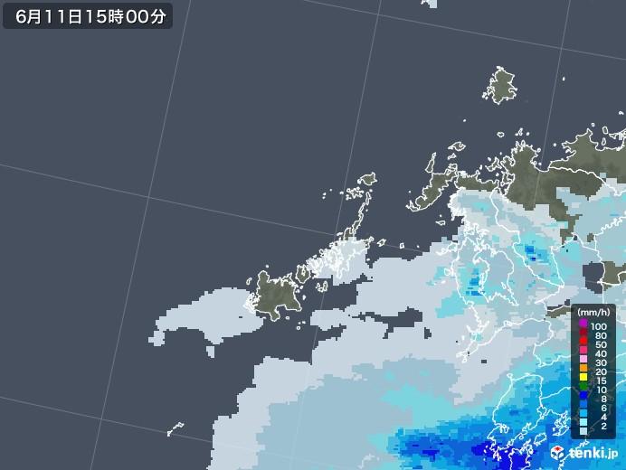 五島列島(長崎県)の雨雲レーダー(2020年06月11日)