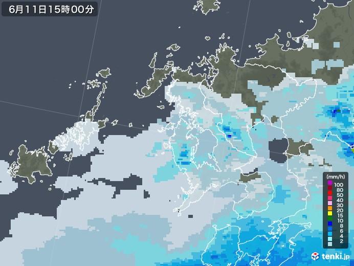 長崎県の雨雲レーダー(2020年06月11日)