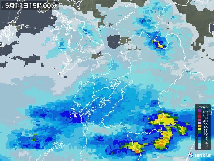 熊本県の雨雲レーダー(2020年06月11日)