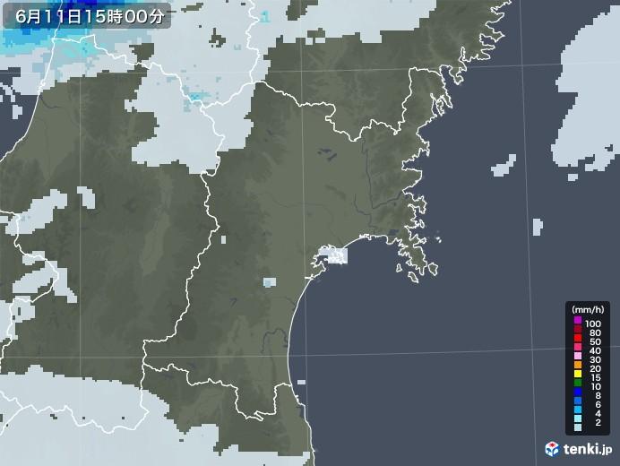 宮城県の雨雲レーダー(2020年06月11日)