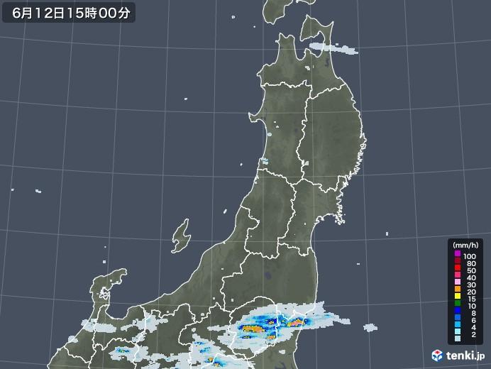 東北地方の雨雲レーダー(2020年06月12日)
