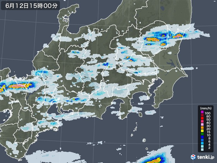 関東・甲信地方の雨雲レーダー(2020年06月12日)