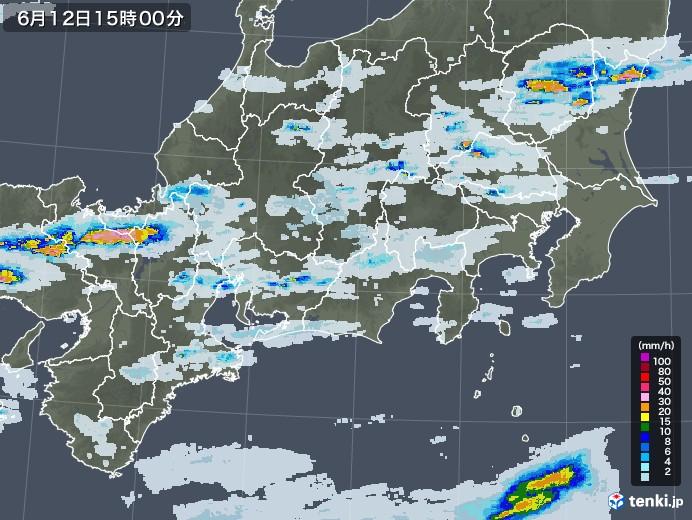 東海地方の雨雲レーダー(2020年06月12日)