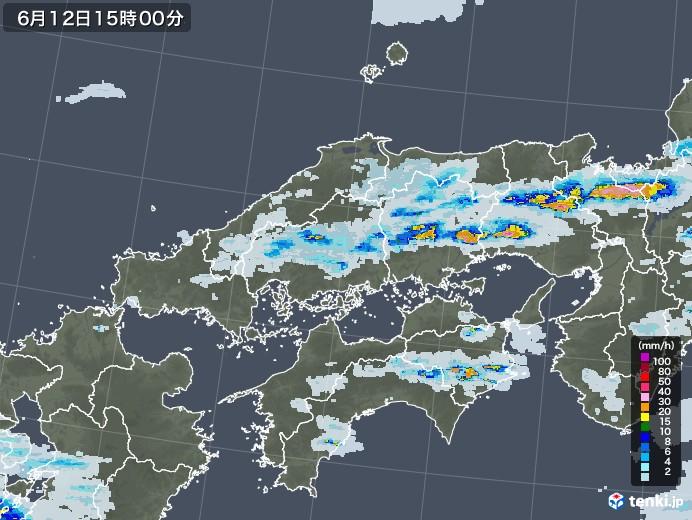 中国地方の雨雲レーダー(2020年06月12日)