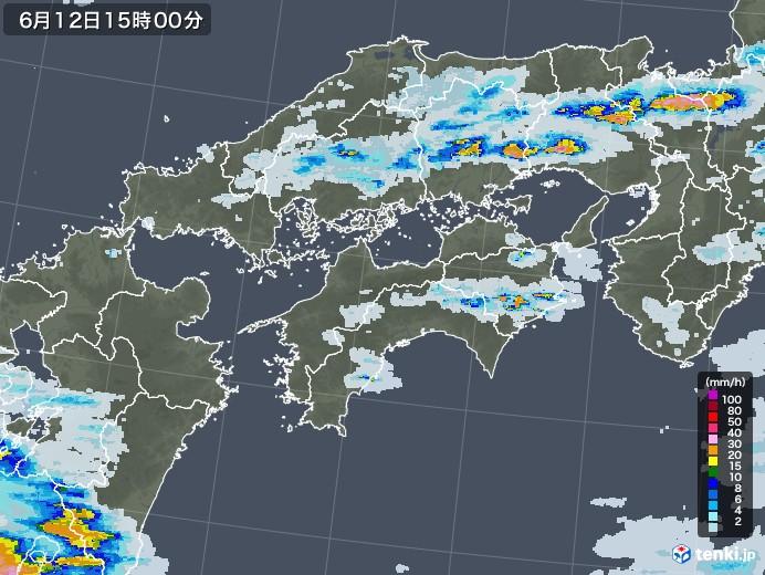 四国地方の雨雲レーダー(2020年06月12日)