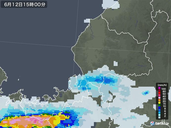福井県の雨雲レーダー(2020年06月12日)