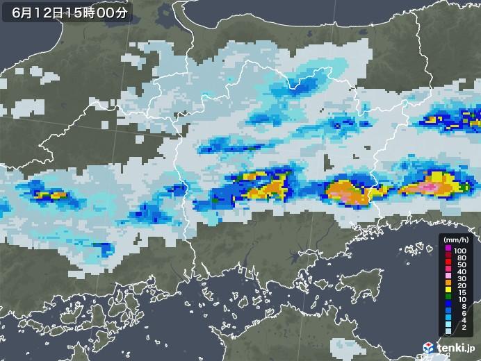 岡山県の雨雲レーダー(2020年06月12日)
