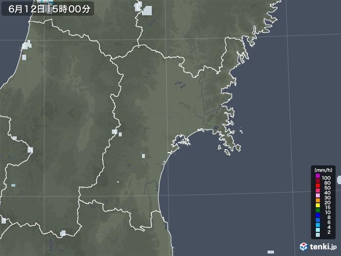 宮城県の雨雲レーダー(2020年06月12日)