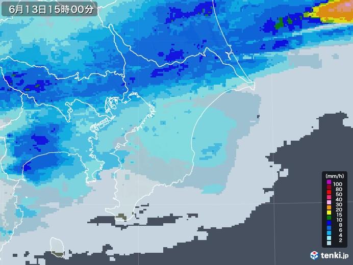 千葉県の雨雲レーダー(2020年06月13日)