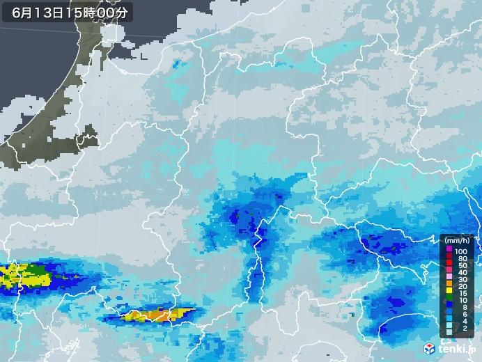 長野県の雨雲レーダー(2020年06月13日)