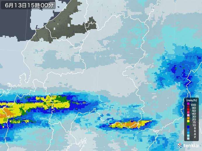 岐阜県の雨雲レーダー(2020年06月13日)