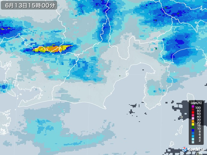 静岡県の雨雲レーダー(2020年06月13日)