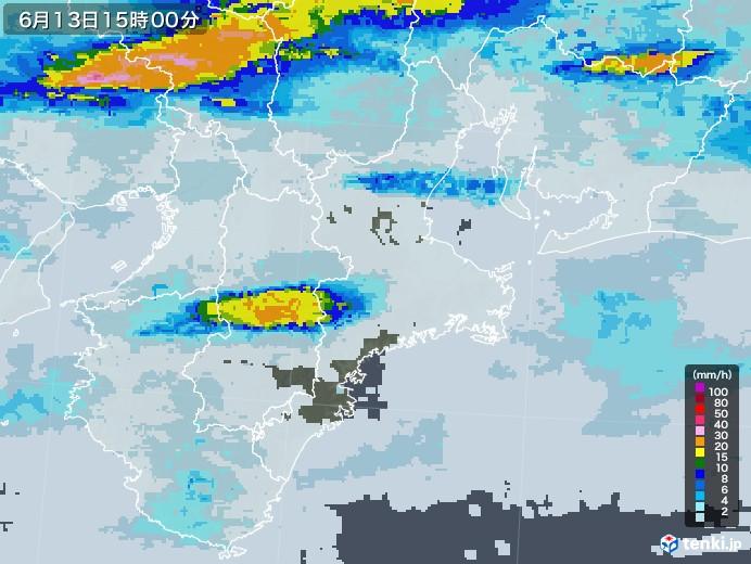 三重県の雨雲レーダー(2020年06月13日)