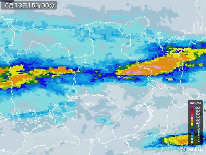 兵庫県の雨雲レーダー(2020年06月13日)
