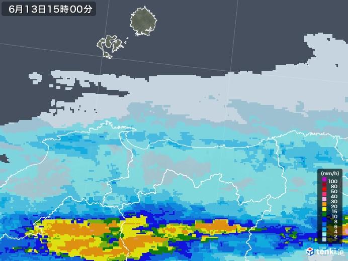 鳥取県の雨雲レーダー(2020年06月13日)
