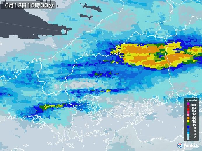 広島県の雨雲レーダー(2020年06月13日)