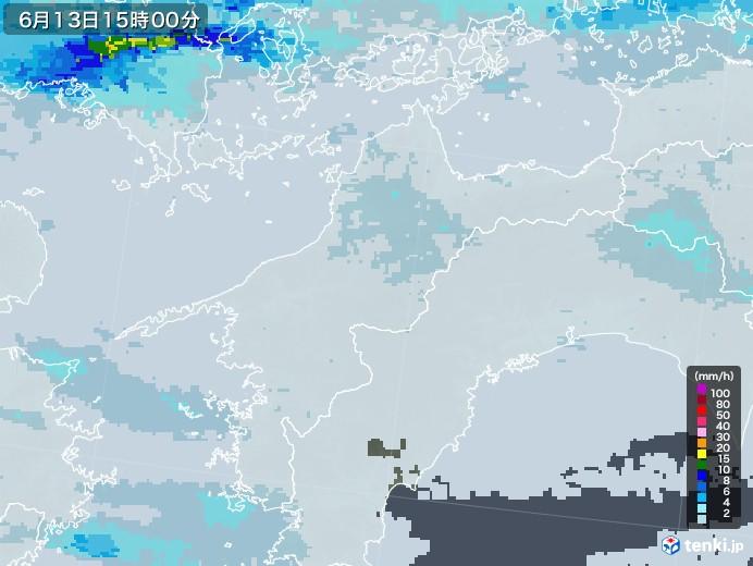 愛媛県の雨雲レーダー(2020年06月13日)