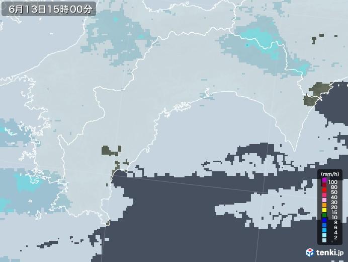 高知県の雨雲レーダー(2020年06月13日)