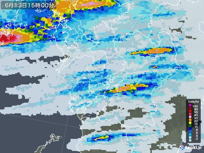 熊本県の雨雲レーダー(2020年06月13日)