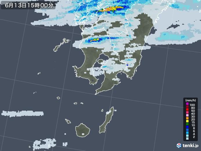 鹿児島県の雨雲レーダー(2020年06月13日)