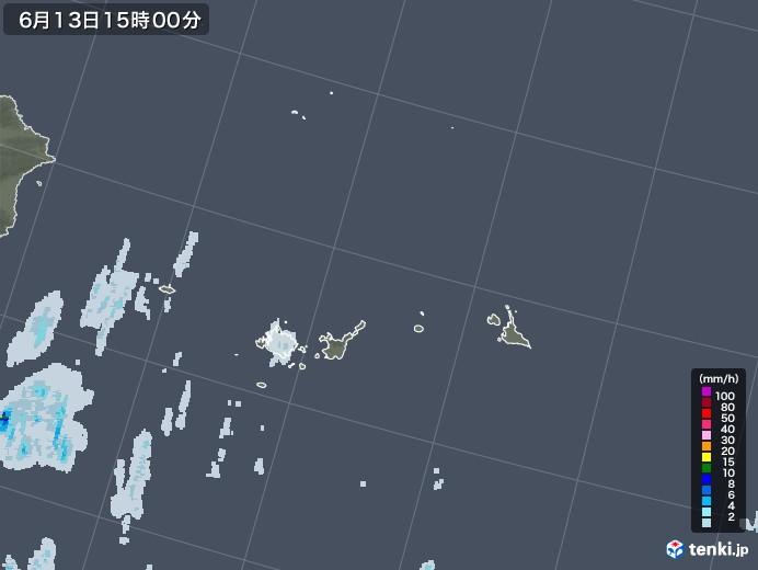 宮古島・石垣・与那国(沖縄県)の雨雲レーダー(2020年06月13日)