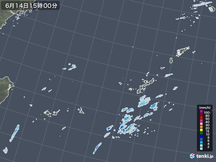 沖縄地方の雨雲レーダー(2020年06月14日)