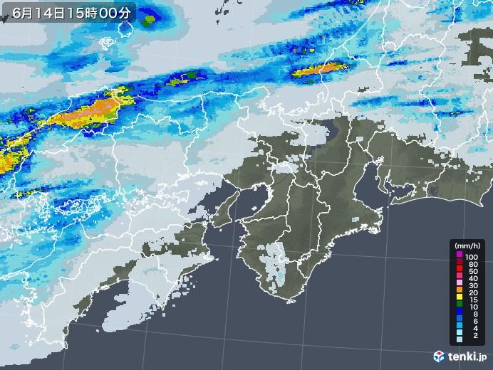近畿地方の雨雲レーダー(2020年06月14日)