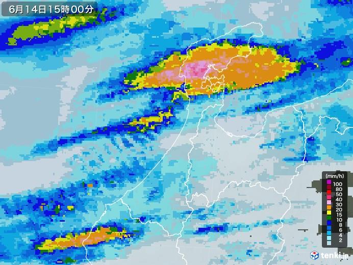 石川県の雨雲レーダー(2020年06月14日)