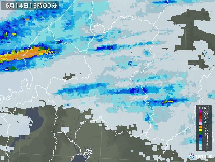 岐阜県の雨雲レーダー(2020年06月14日)