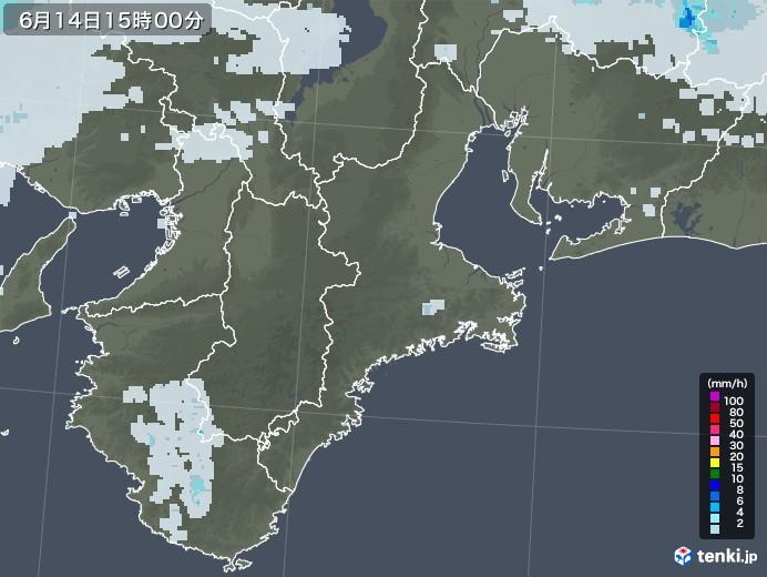 三重県の雨雲レーダー(2020年06月14日)