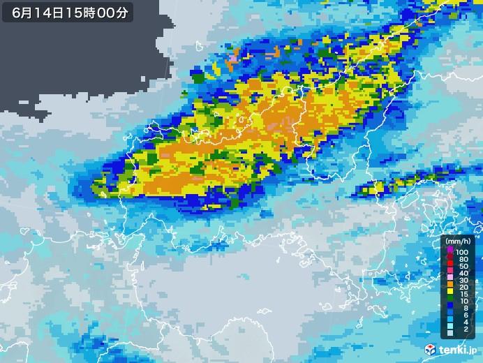 山口県の雨雲レーダー(2020年06月14日)