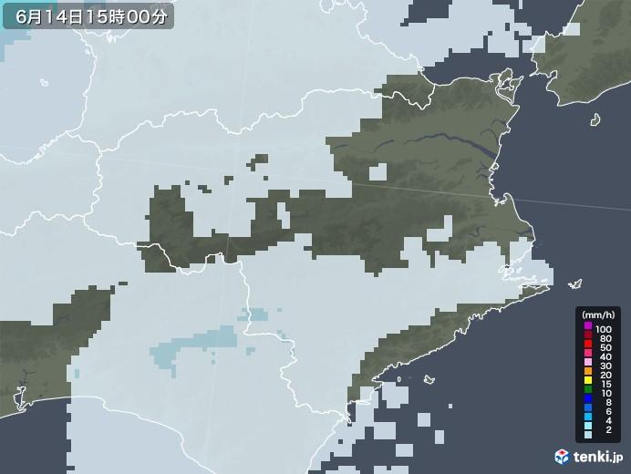 徳島県の雨雲レーダー(2020年06月14日)