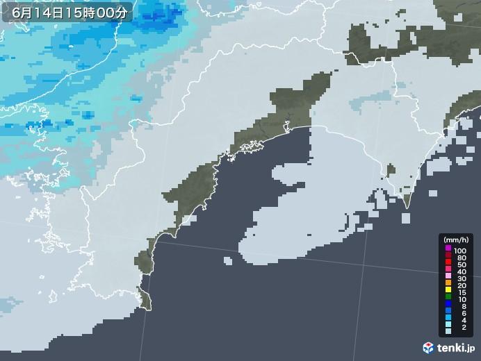 高知県の雨雲レーダー(2020年06月14日)
